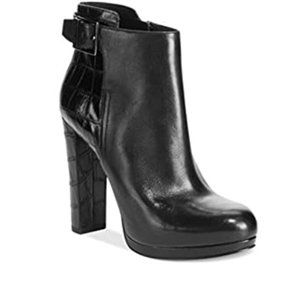 Michael Kors black leather croc heel ankle boot